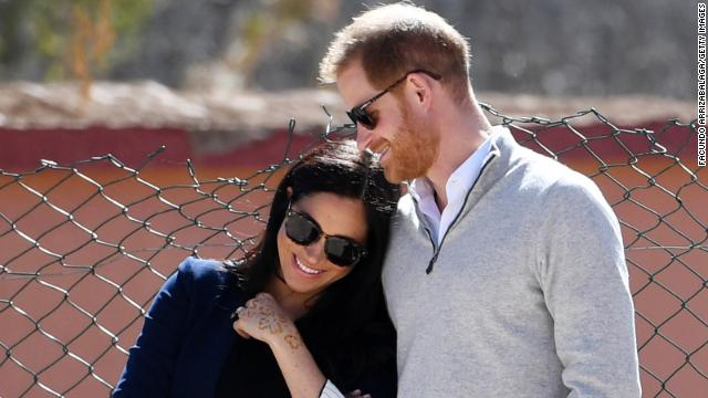 Meghan, Duchess of Sussex and Prince Harry, Duke of Sussex watch students play football during their visit to Morocco on February 24, 2019.