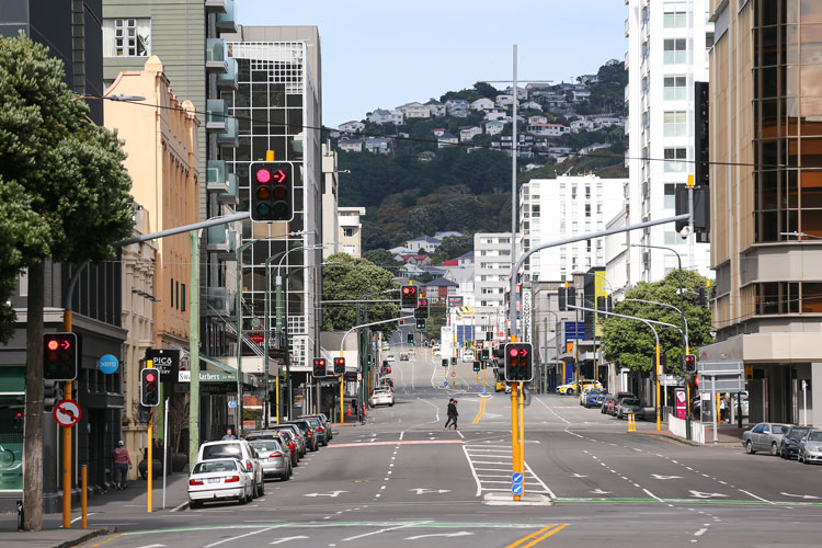Taranaki Street during the first day of a nationwide lockdown on March 26, 2020 in Wellington, New Zealand.