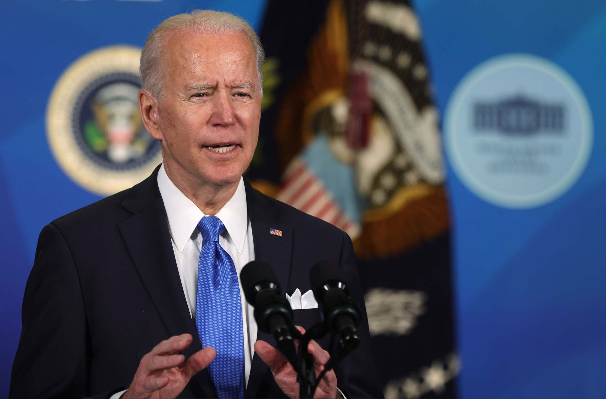 President Joe Biden speaks during an event at the South Court Auditorium of the Eisenhower Executive Office Building on March 10 in Washington, DC.