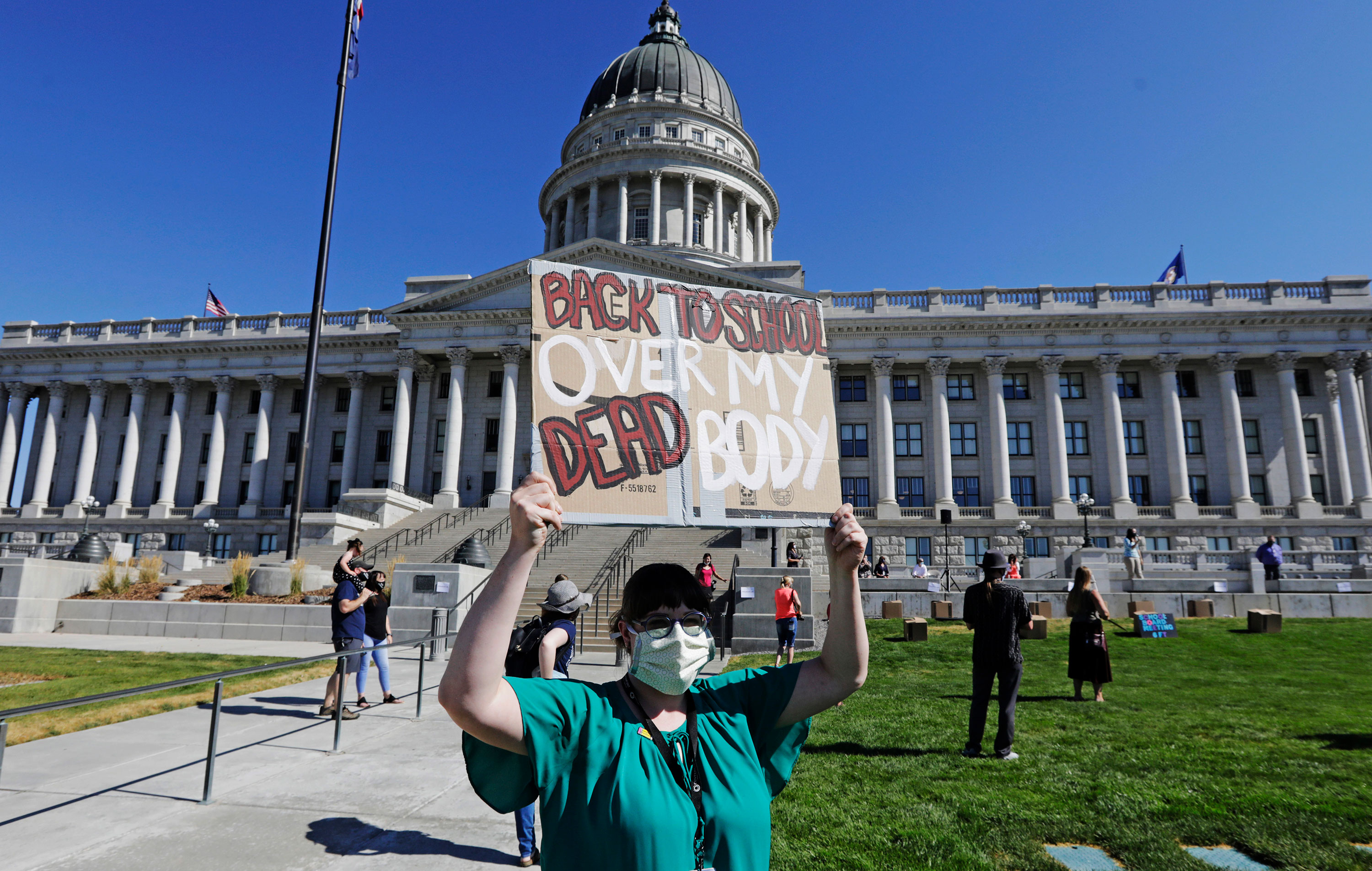Junior high teacher Angela Andrus attends a Safe Schools Mask-In at the Utah Capitol on Thursday, July 23 in Salt Lake City.