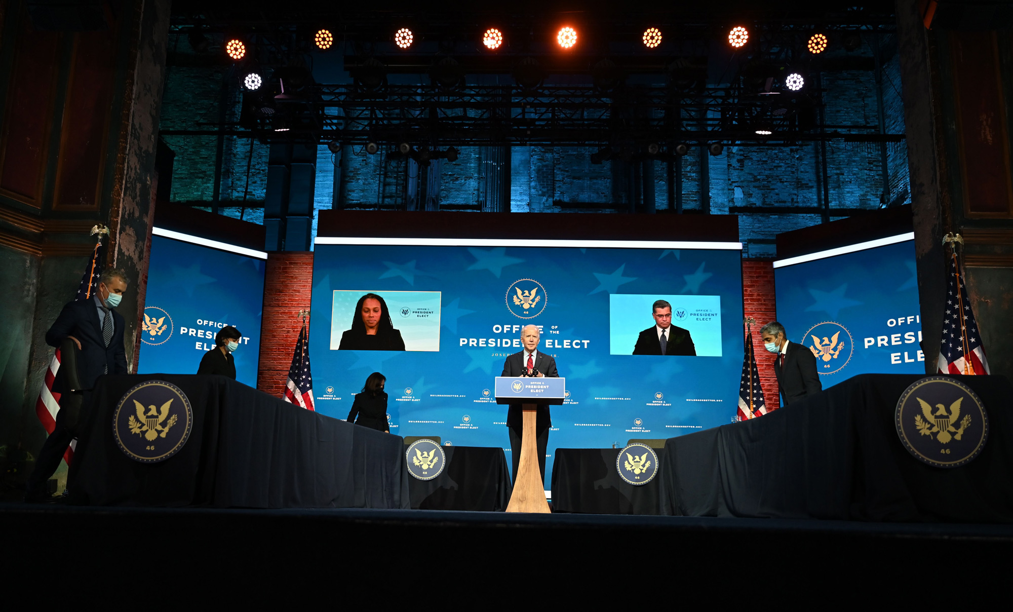 US President-elect Joe Biden speaks before announcing his team tasked with dealing with the Covid-19 pandemic at The Queen in Wilmington, Delaware, on December 8, 2020.