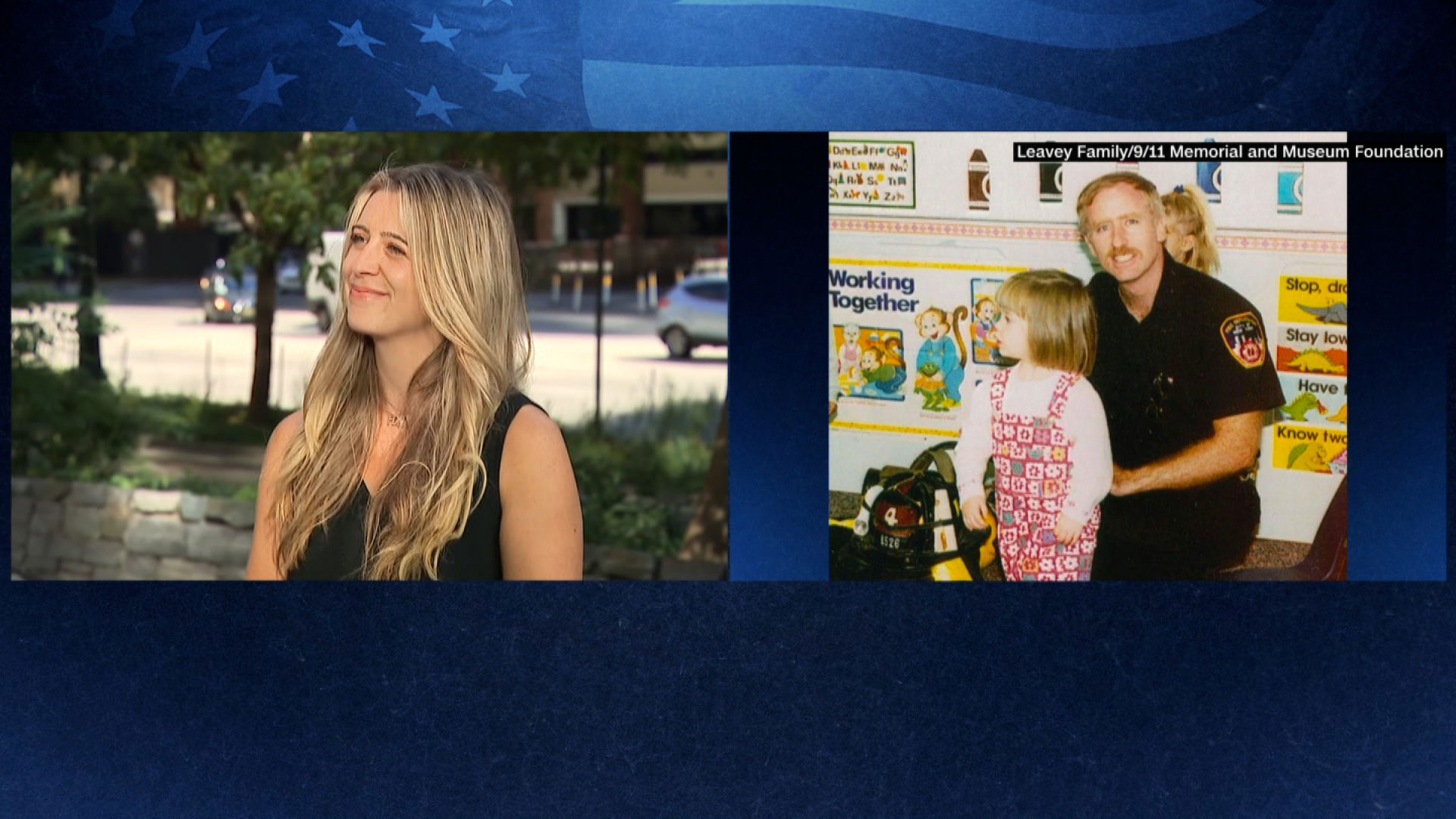 Left: Cait Leavey, the daughter of a New York City Fire Department captain killed on 9/11. Right: A photo of Leavey with her father.
