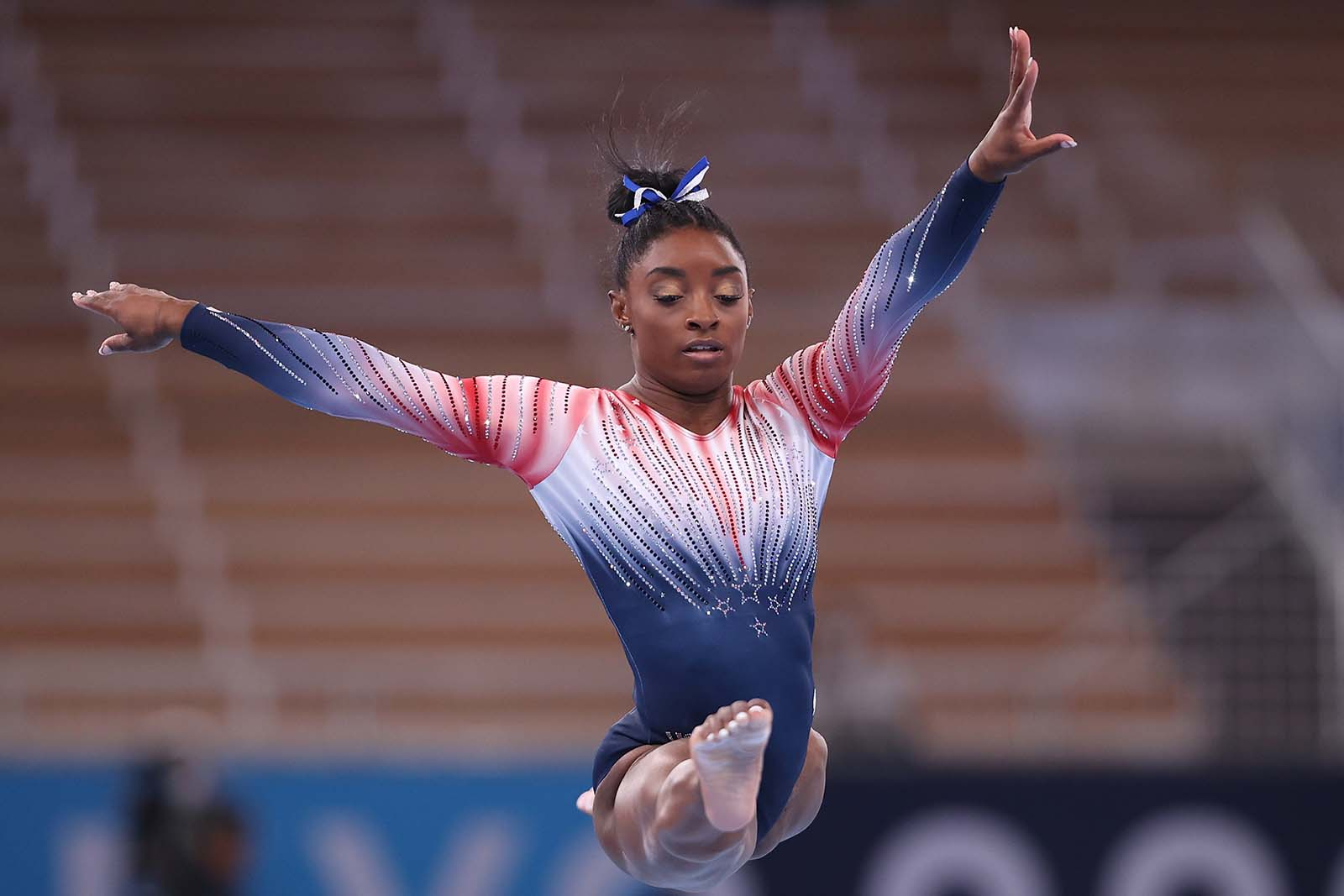 Simone Biles competes in the women's balance beam final on August 3.