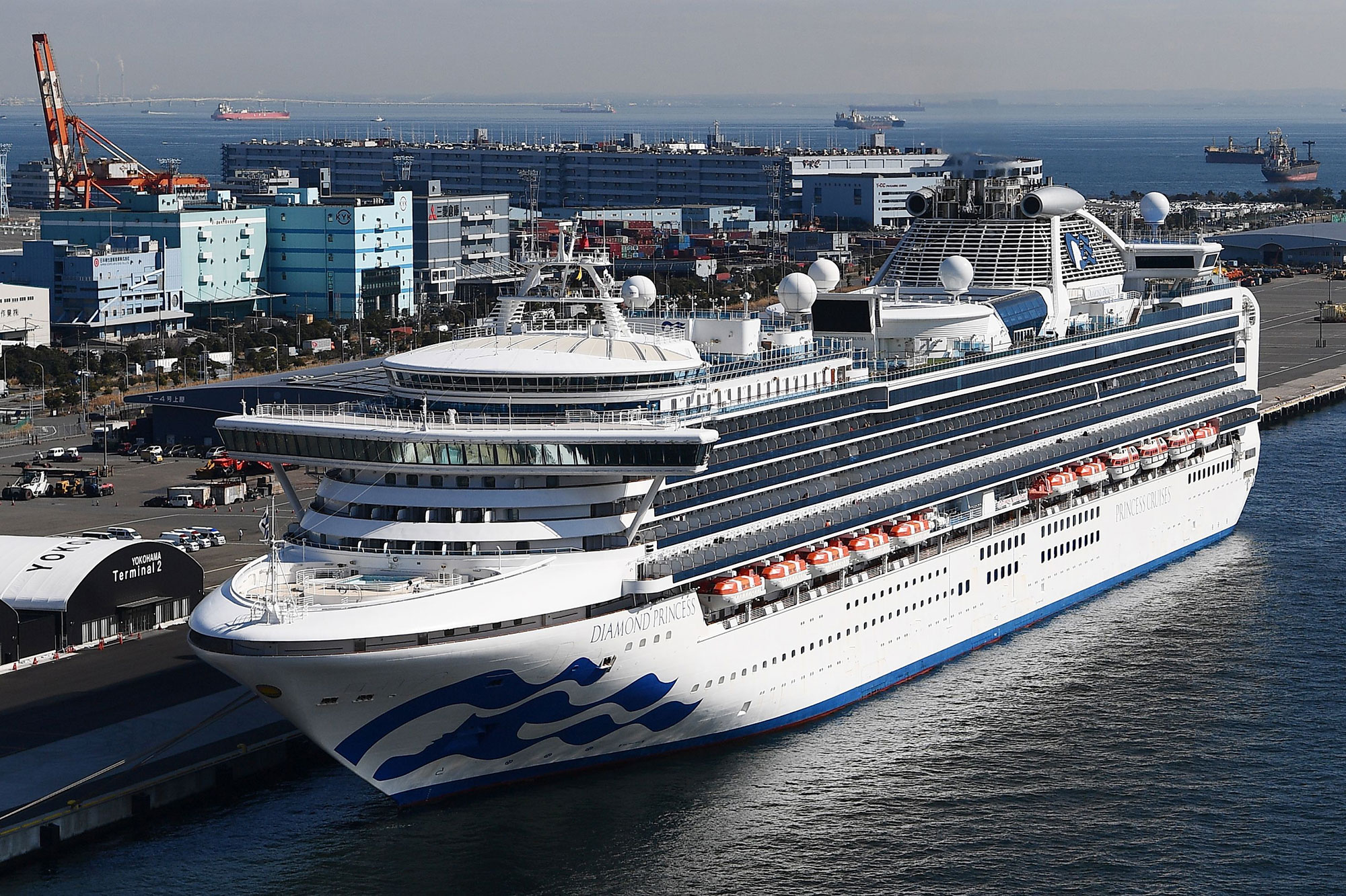 The Diamond Princess is quarantined at the port city of Yokohama, Japan.