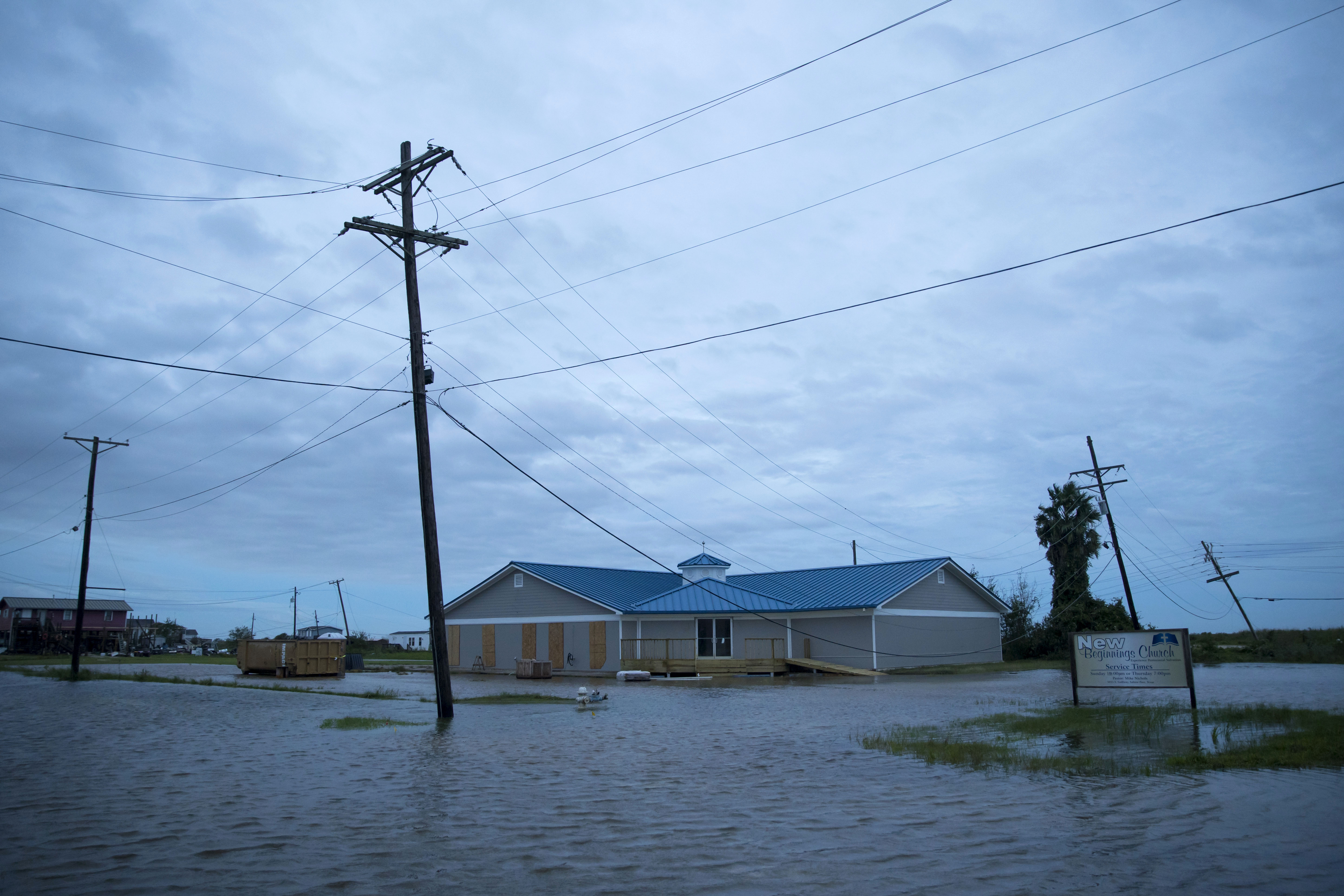 Flooding caused by Hurricane Laura is seen in Sabine Pass, Texas, on August 27.