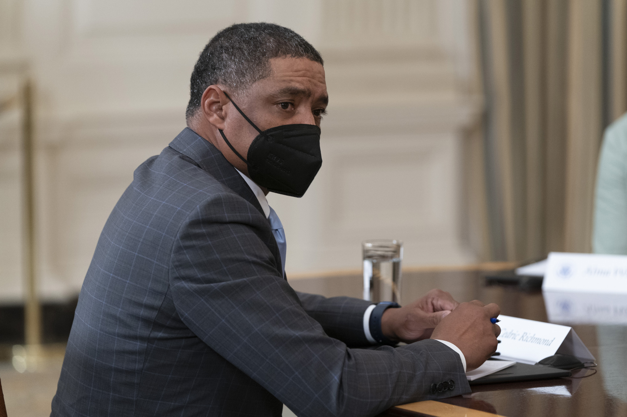 White House senior adviser Cedric Richmond speaks during a roundtable meeting in the State Dining Room of the White House in Washington, D.C., on March 5.