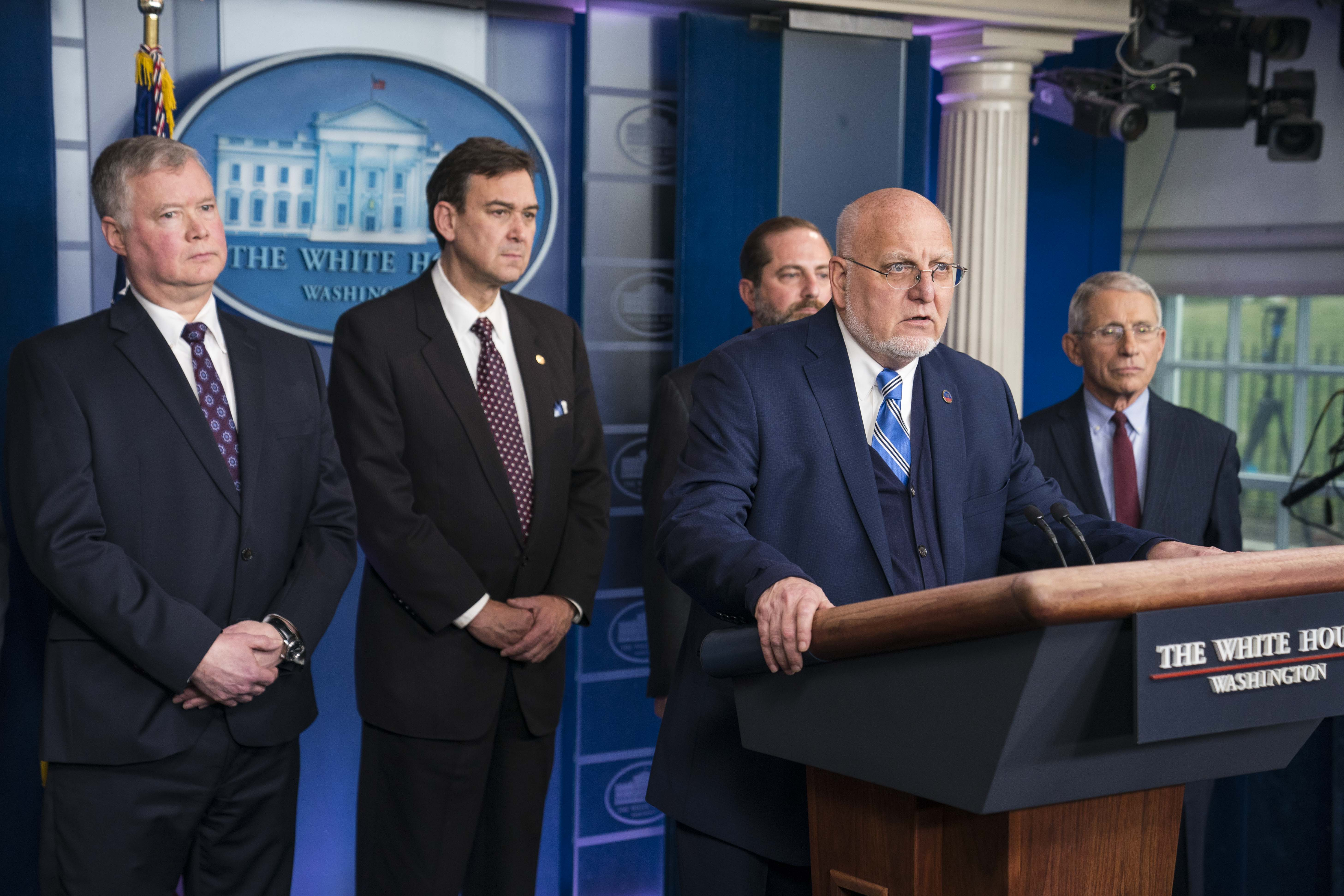 Centers for Disease Control and Prevention (CDC) Director Dr. Robert Redfield, and members of the Trump Administration's Coronavirus Task Force hold a press briefing on Friday, January 31.