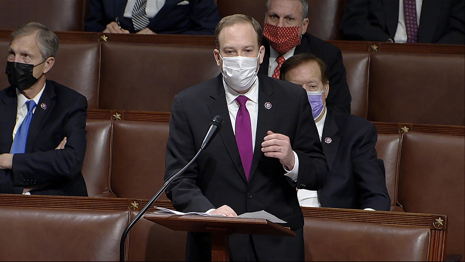 In this image from video, Rep. Lee Zeldin speaks as the House reconvenes to debate the objection to confirm the Electoral College vote from Arizona, after protesters stormed into the U.S. Capitol on Wednesday, January 6.