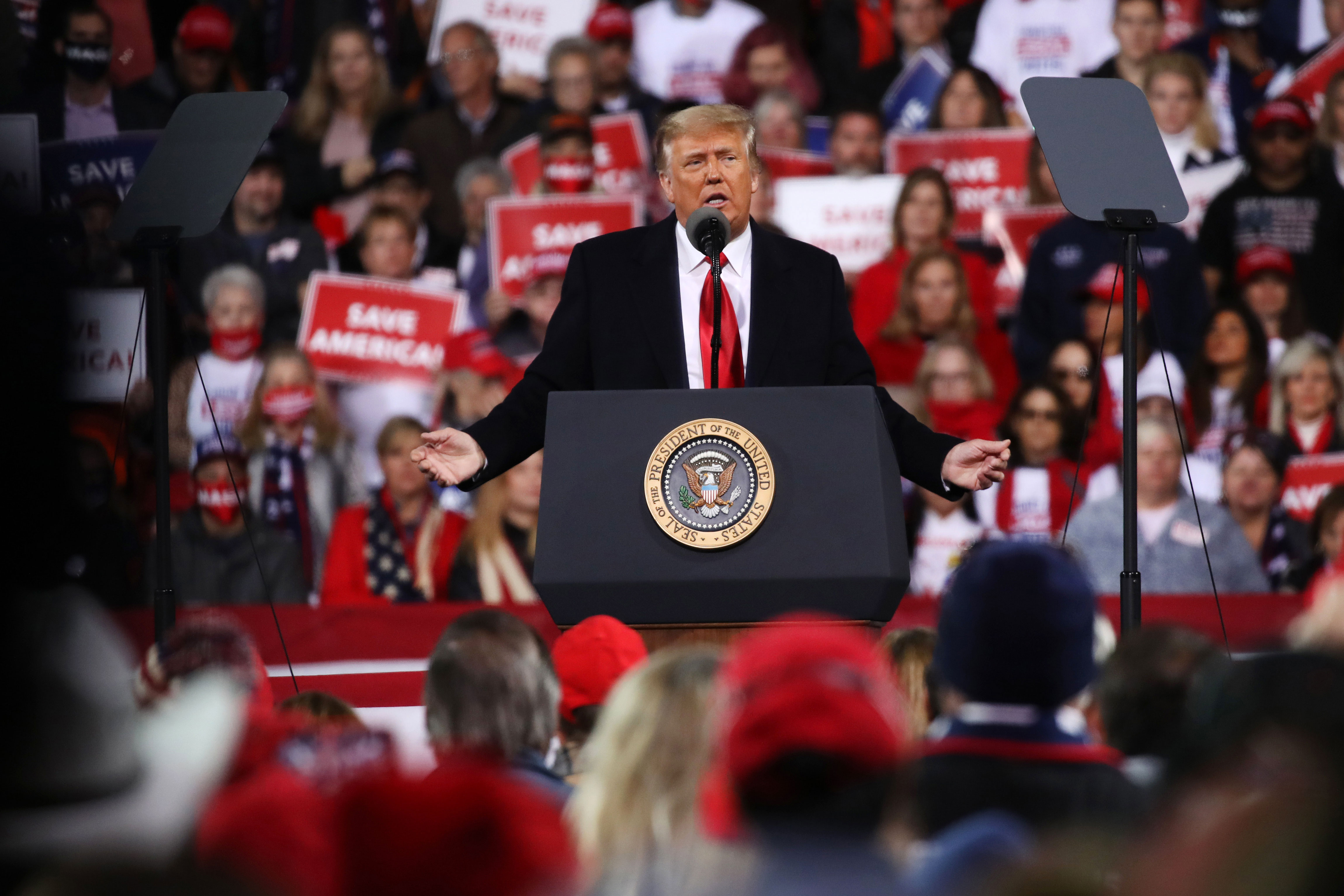 President Donald Trump attends a rally in support of Sens. David Perdue and Kelly Loeffler in Valdosta, Georgia, on December 5.