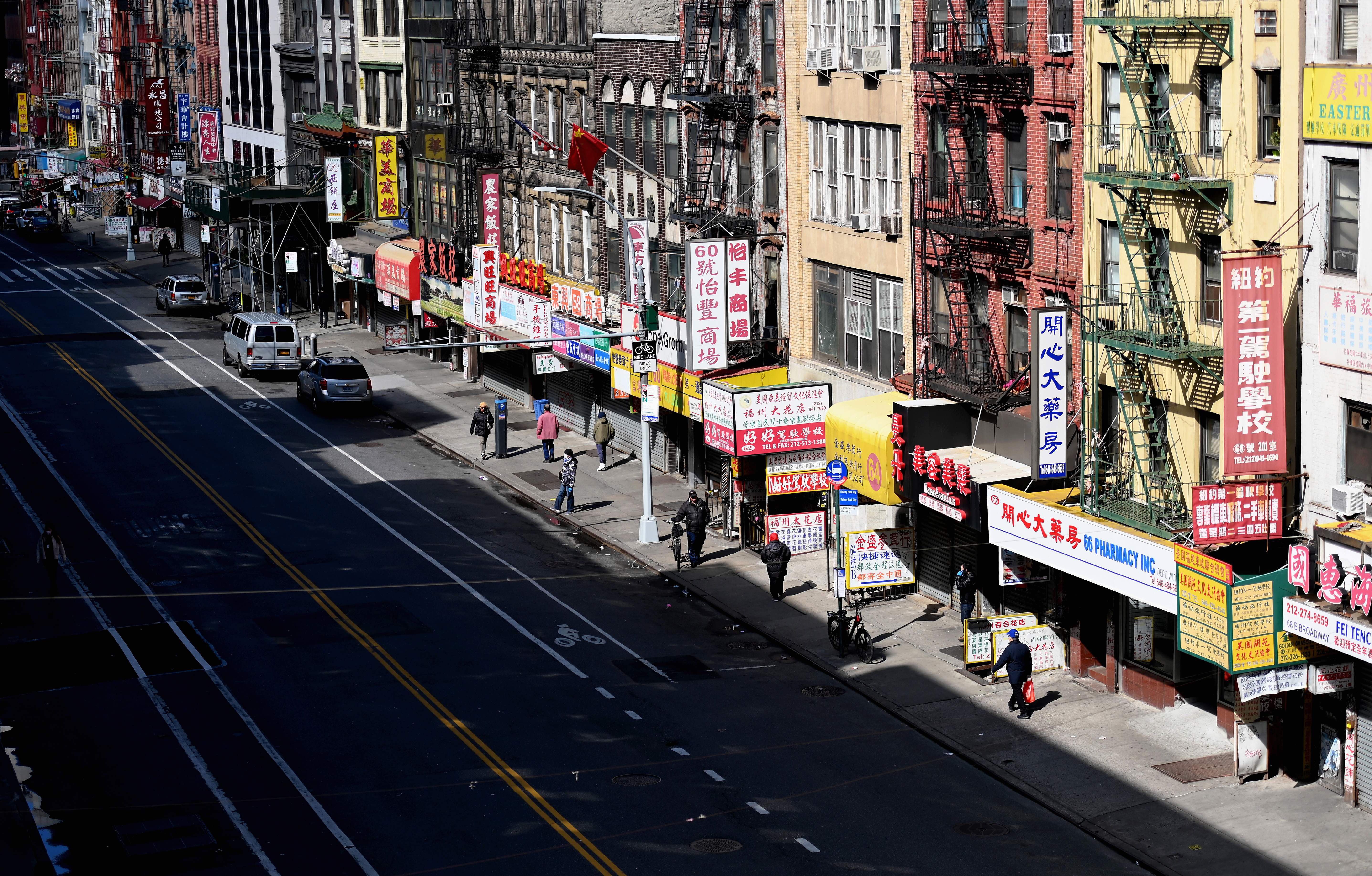 A nearly empty street is seen in New York's Chinatown on March 24.