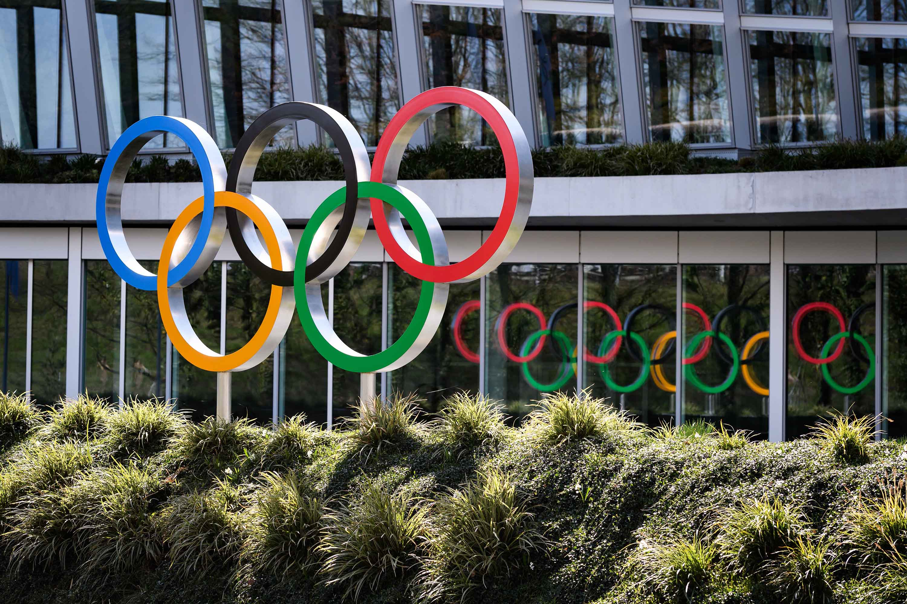 Olympic Rings are seen next to the headquarters of the International Olympic Committee (IOC) in Lausanne, Switzerland on March 17.