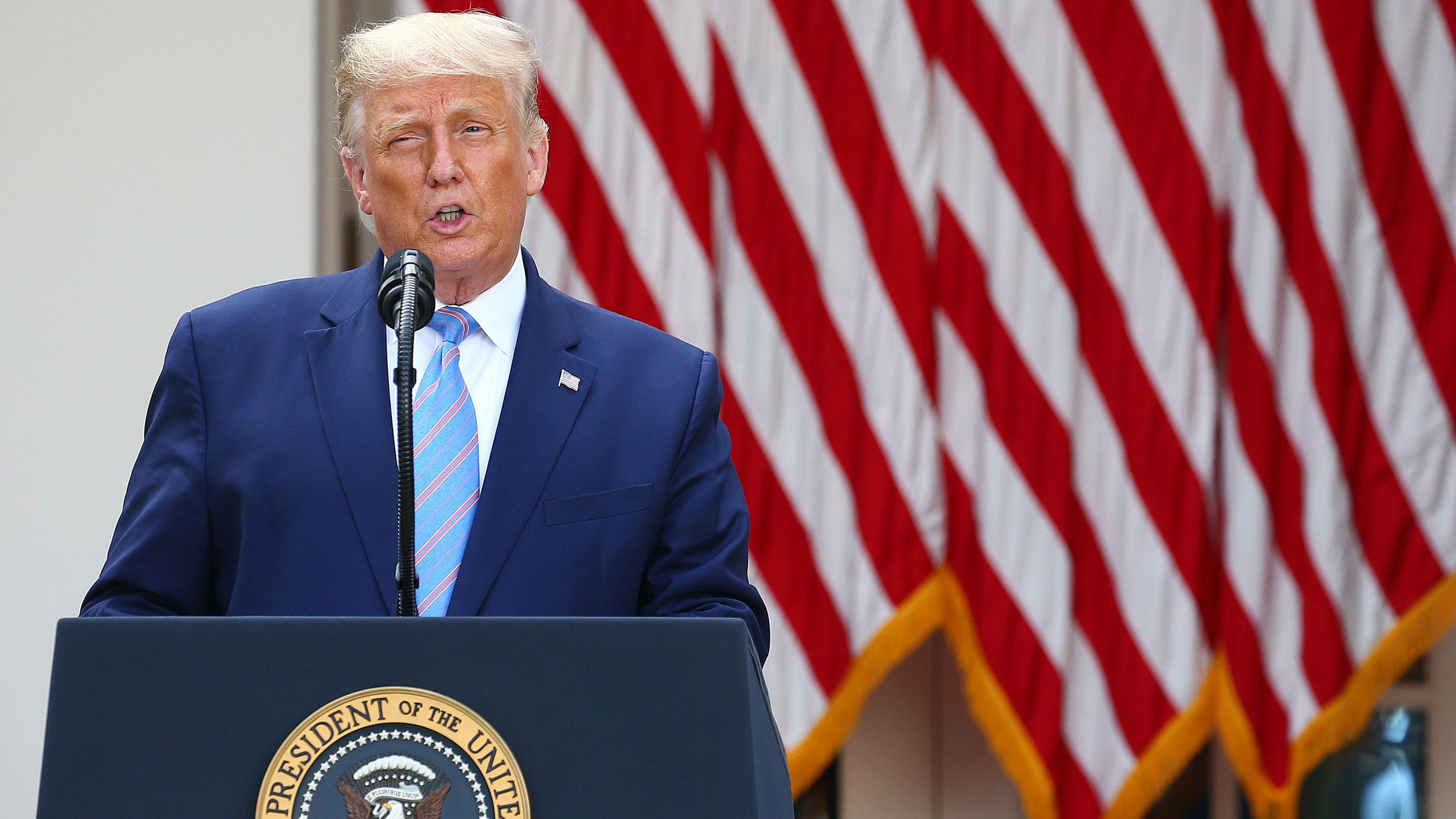 President Donald Trump speaks from the White House Rose Garden on Monday.