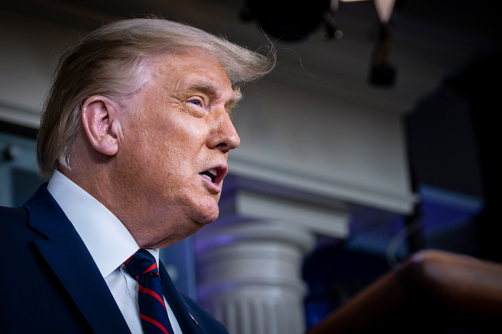 US President Donald Trump announces that the Food and Drug Administration is issuing an emergency authorization for blood plasma as a coronavirus treatment during a news conference at the White House in Washington, DC on August 23.