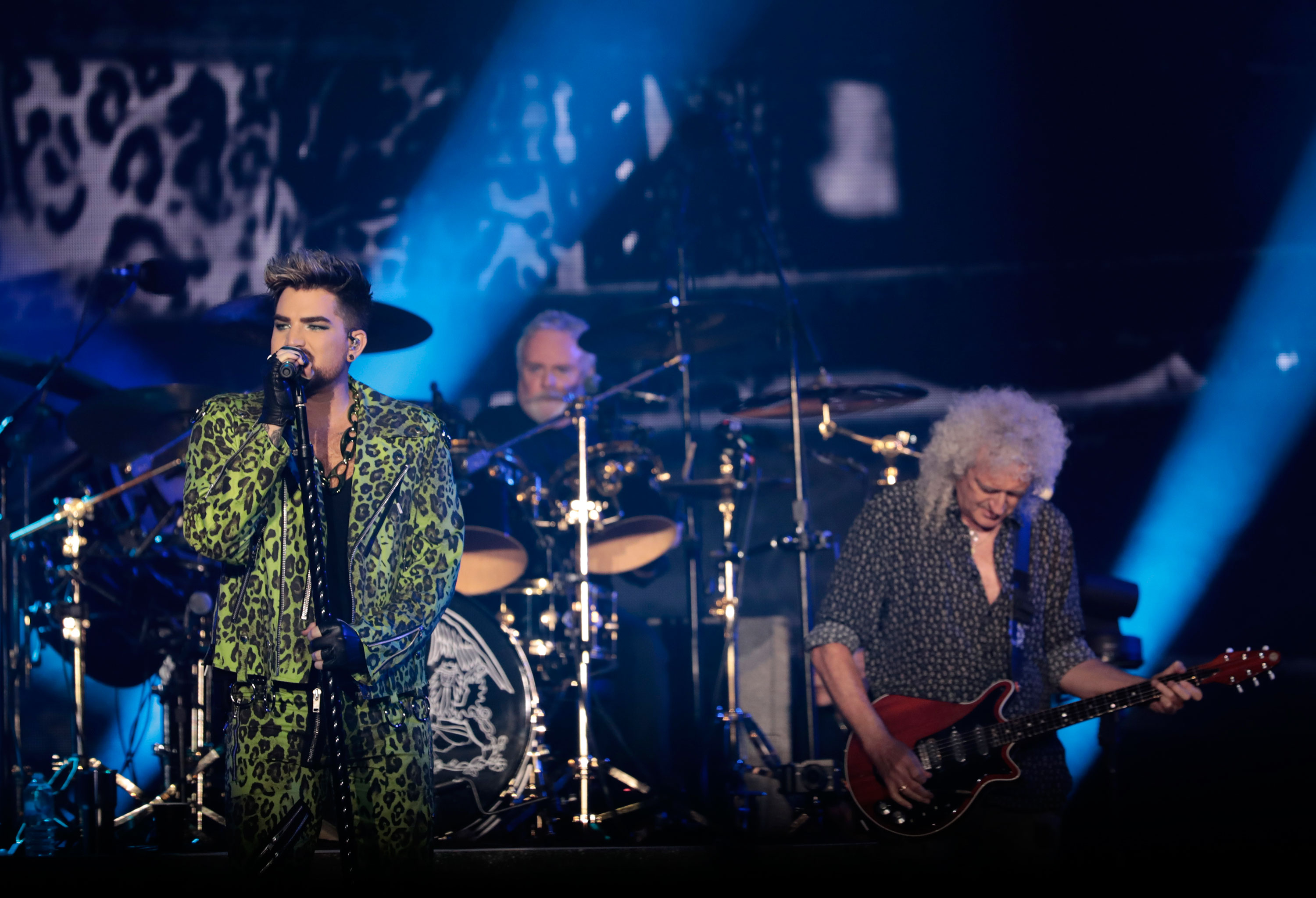 Adam Lambert performs with Brian May and Roger Taylor of Queen on February 16 in Sydney, Australia.