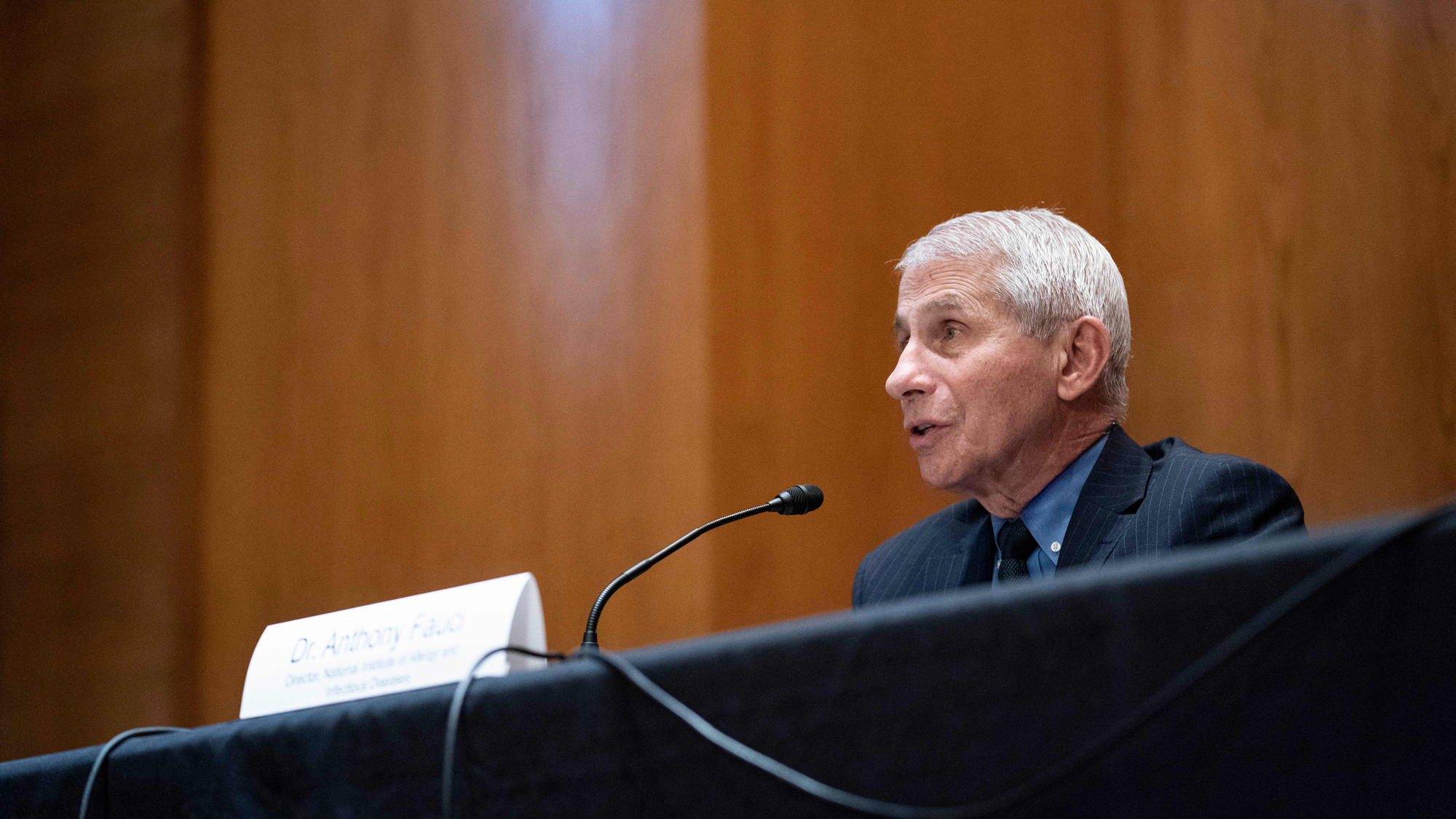 Anthony Fauci, director of the National Institute of Allergy and Infectious Diseases, speaks during a hearing  on Capitol Hill in Washington, DC on May 26.