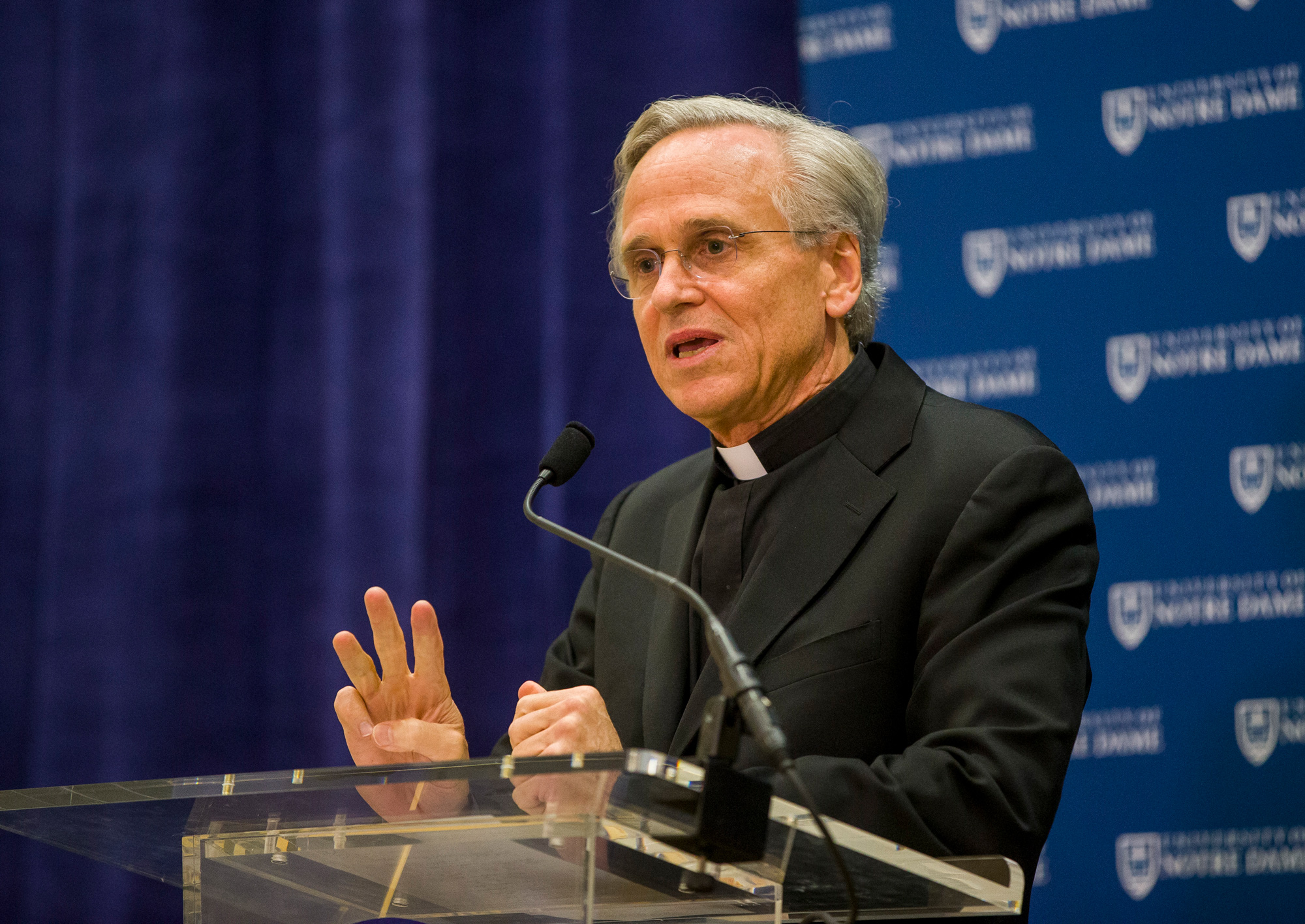 University of Notre Dame President Rev. John I. Jenkins speaks during a press conference on October 11, 2019, inside the Morris Inn at the Notre Dame in South Bend, Indiana.