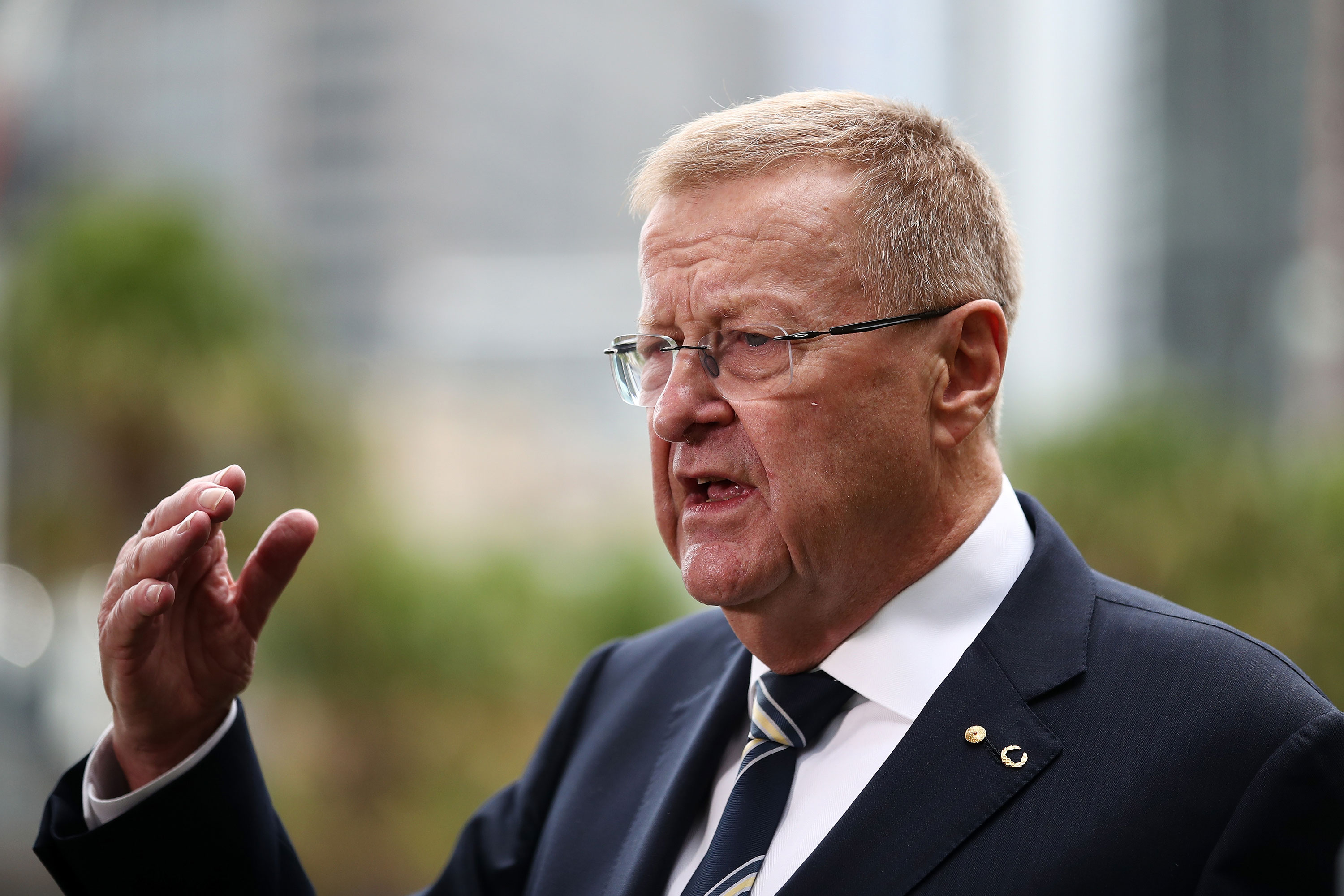 Australian Olympic Committee President John Coates addresses the media in Sydney on May 9.
