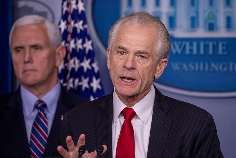 Peter Navarro, Director of the National Trade Council speaks during a press briefing at the White House on March 22.