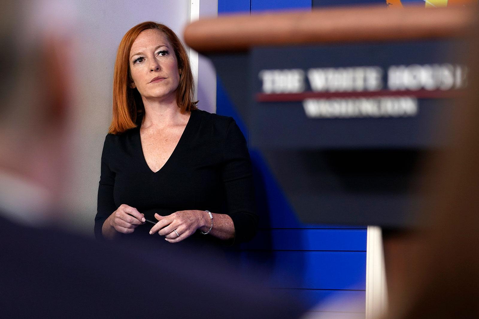 White House press secretary Jen Psaki looks on during a press briefing on June 30.