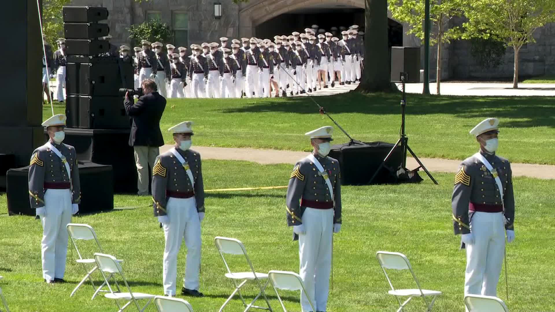 Cadets arrive at the West Point graduation ceremony on Saturday.