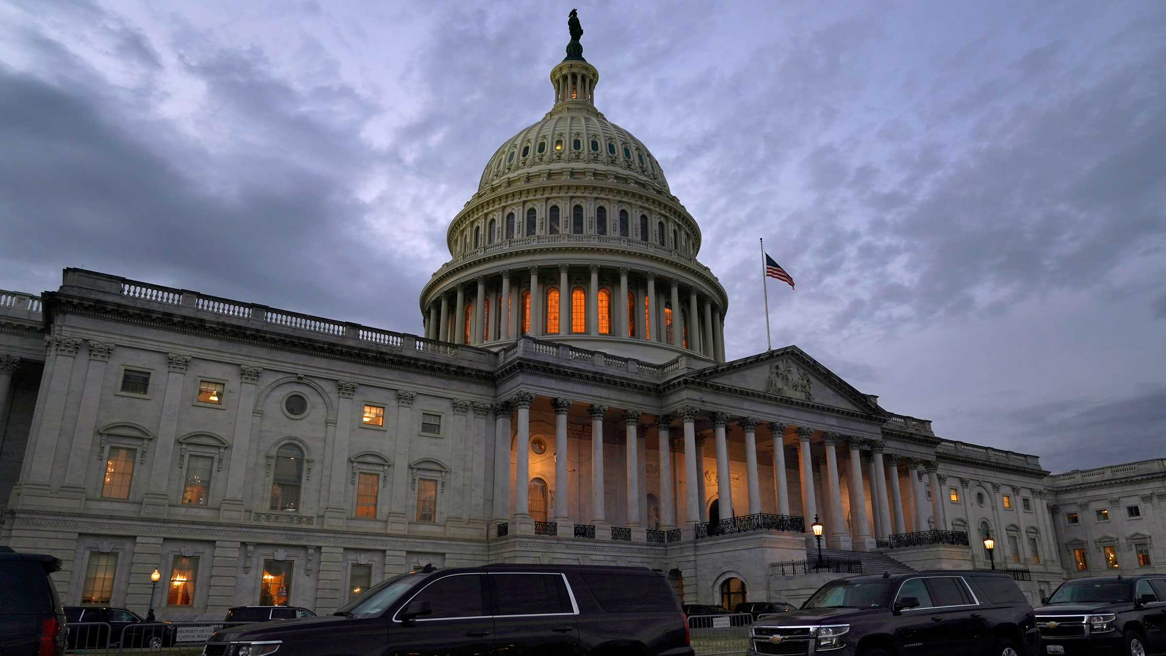 Dusk falls over the US Capitol on Monday.