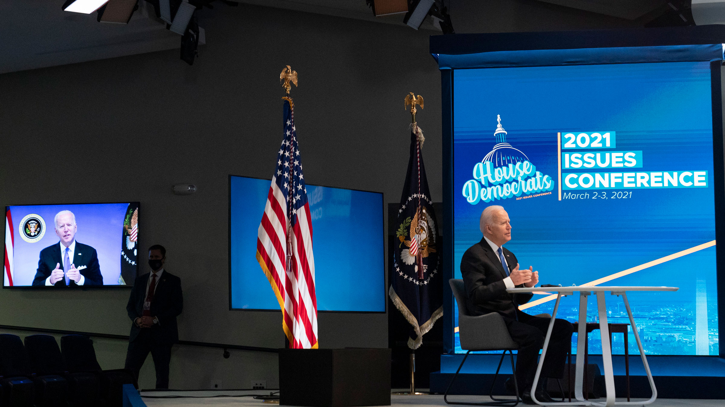 President Biden speaks during a virtual meeting with the House Democratic Caucus on Wednesday.