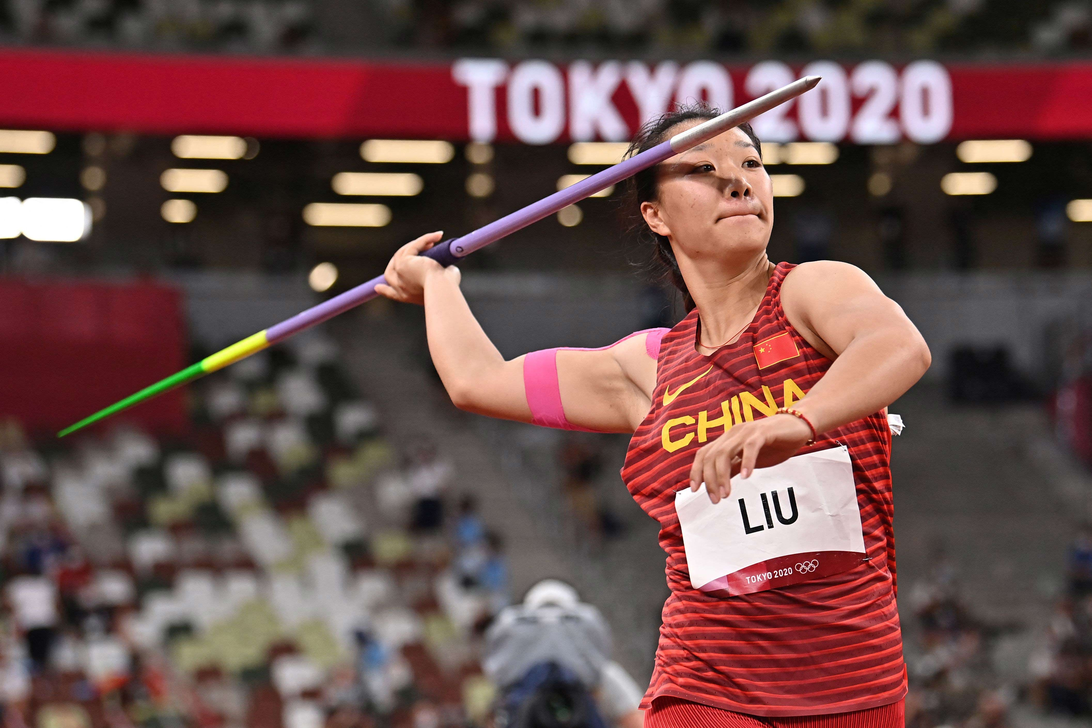 China's Liu Shiying competes in the javelin throw final on August 6.