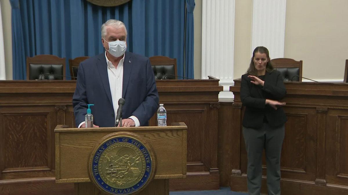 Nevada Governor Steve Sisolak during a press briefing on November 11.