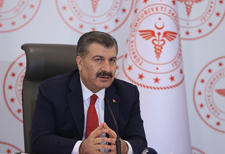Turkish Health Minister Fahrettin Koca during a press conference in Istanbul, Turkey on October 28, 2020.