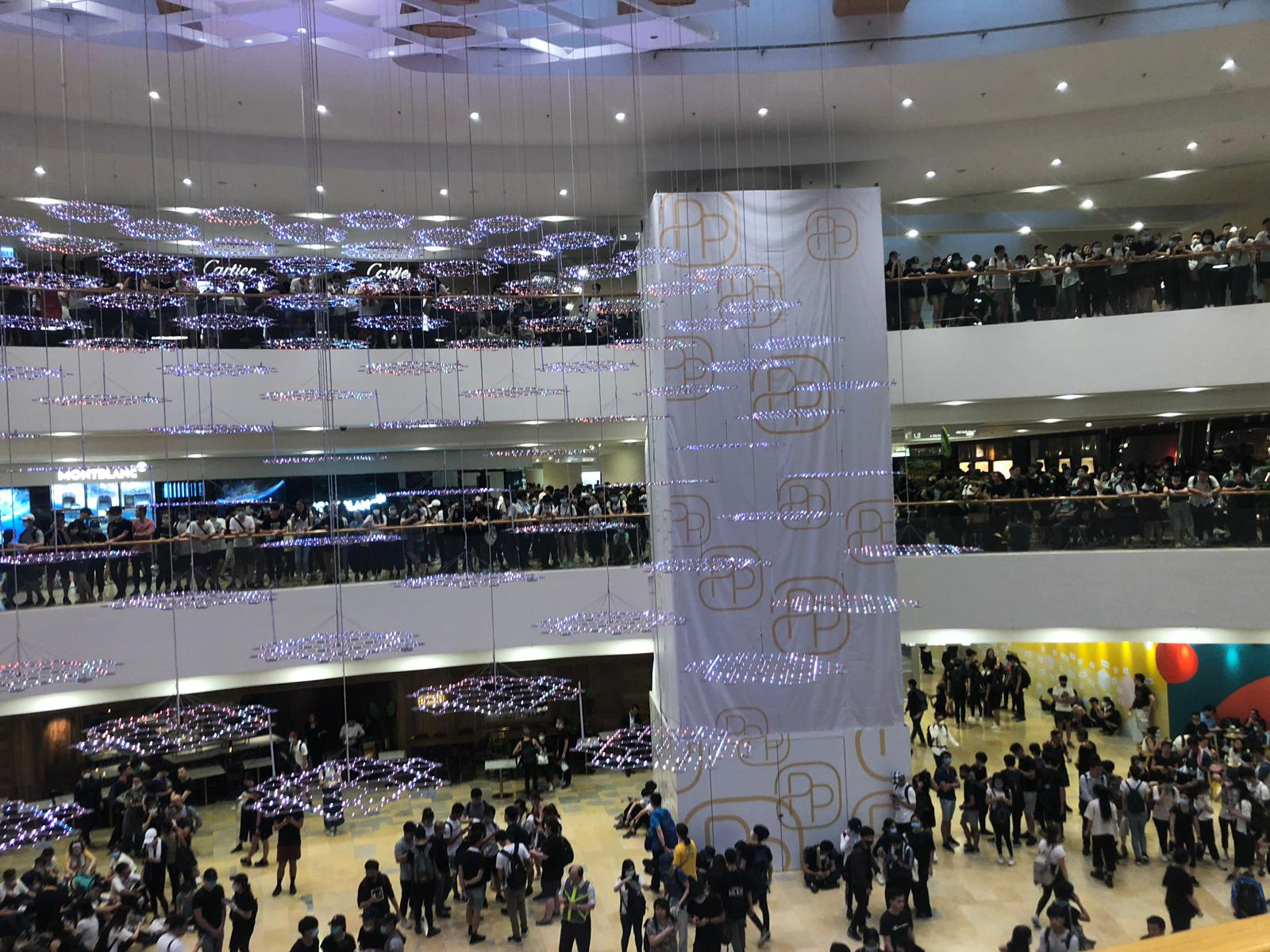 Protesters inside Pacific Place shopping mall.