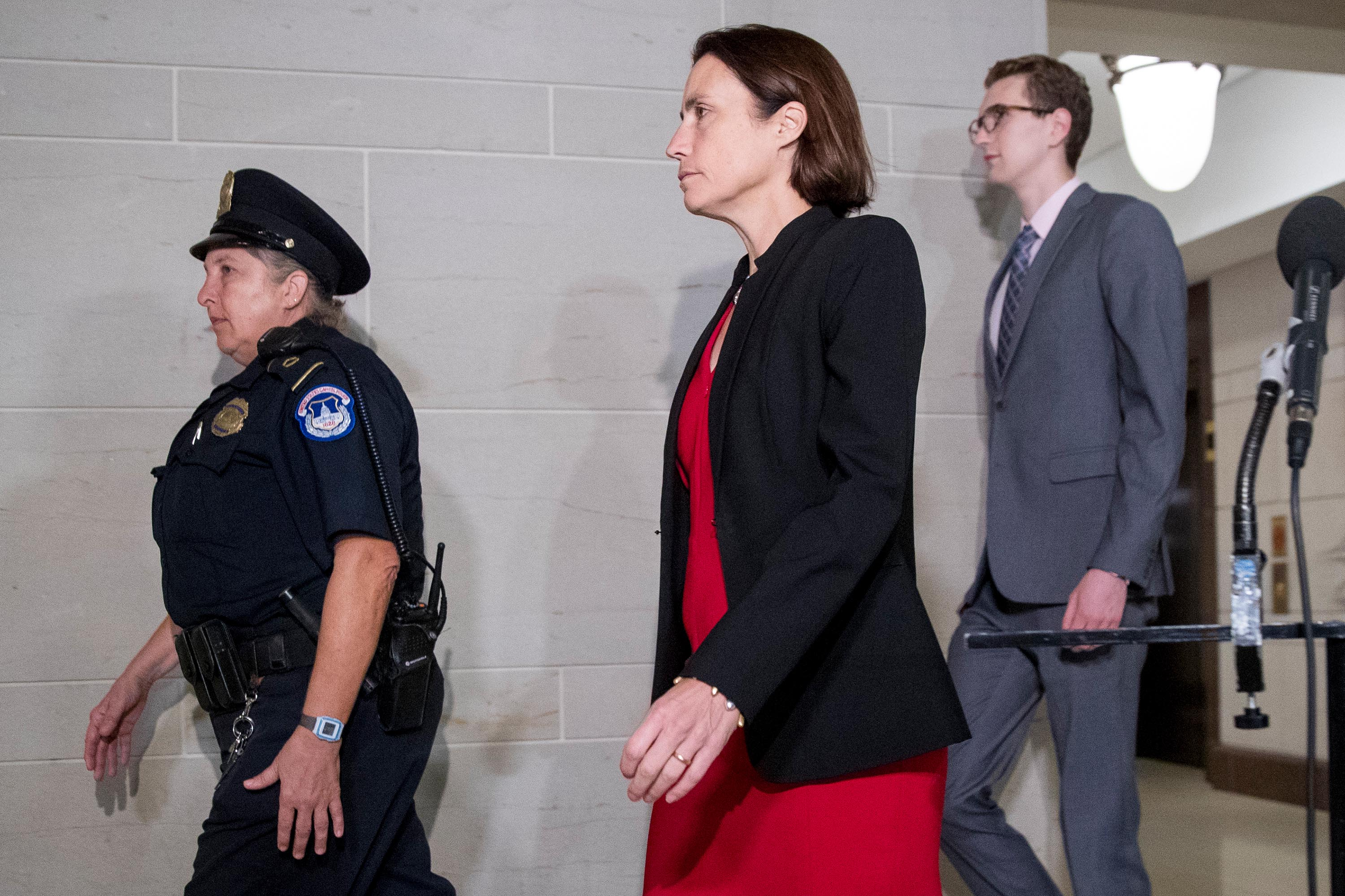 Fiona Hill arrives on Capitol Hill in Washington, Monday.