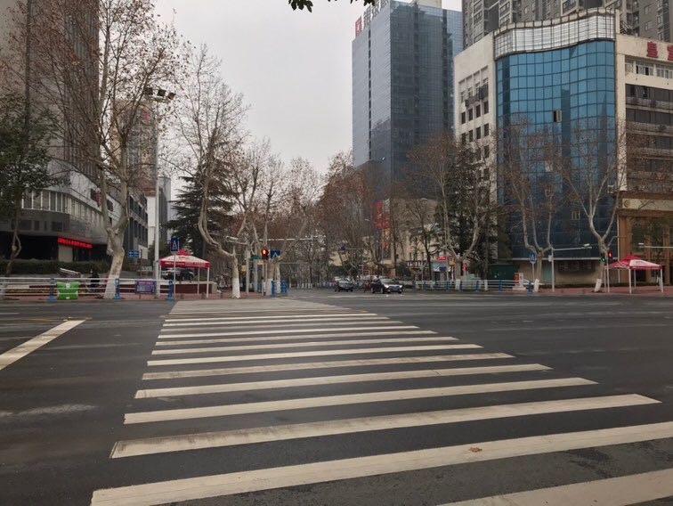 View from a street in Jingmen, Hubei Province.