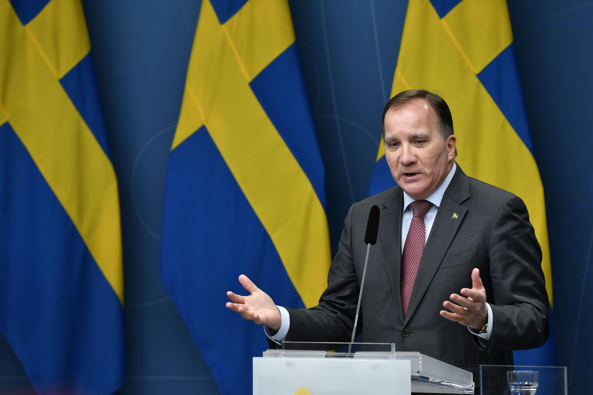 Sweden's Prime Minister Stefan Lofven gives a press conference in Stockholm on November 11.