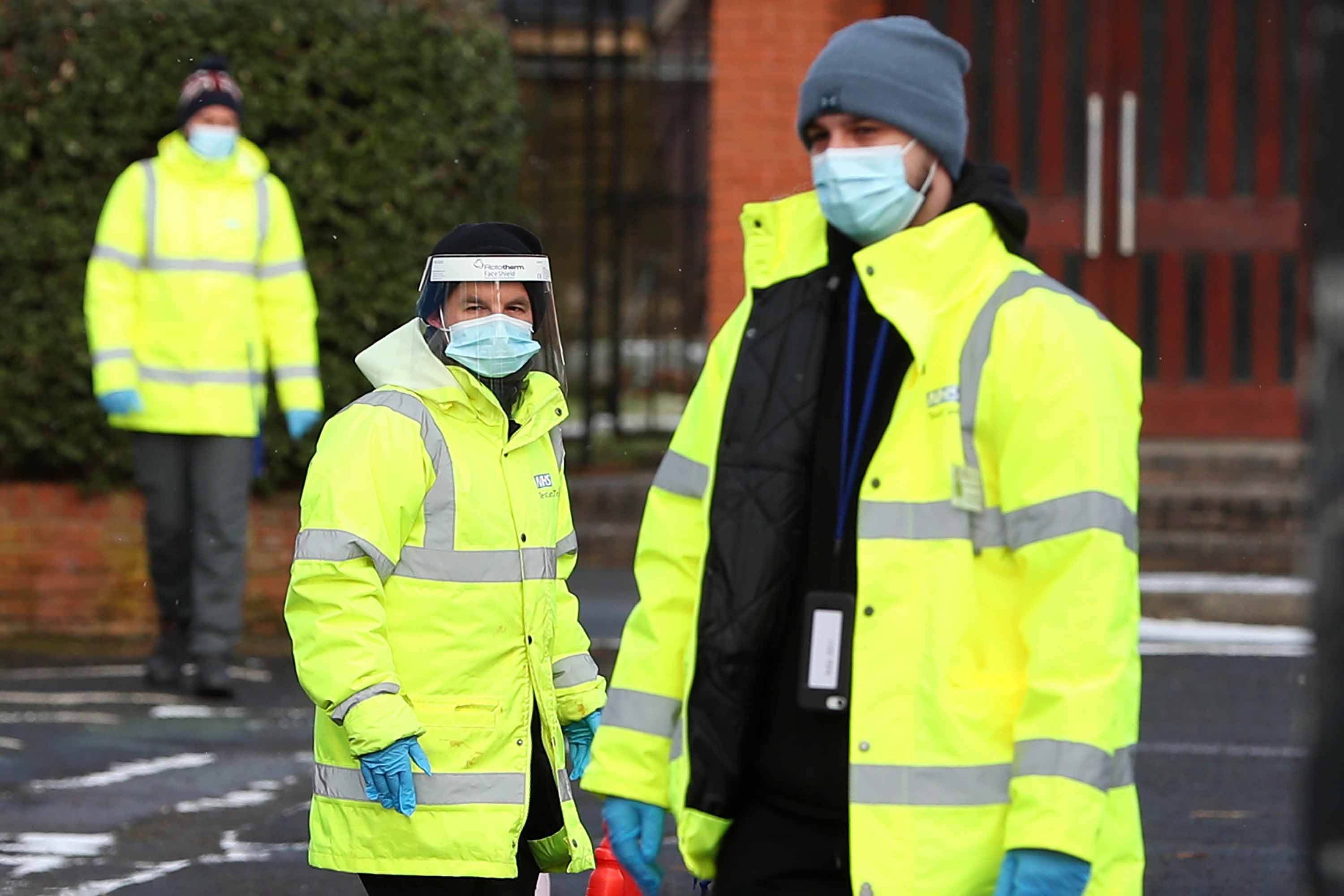 The UK's National Heath Service track and trace staff carry out coronavirus testing at a church in Manchester, England, on February 9, after a mutation of the Kent variant was detected there.