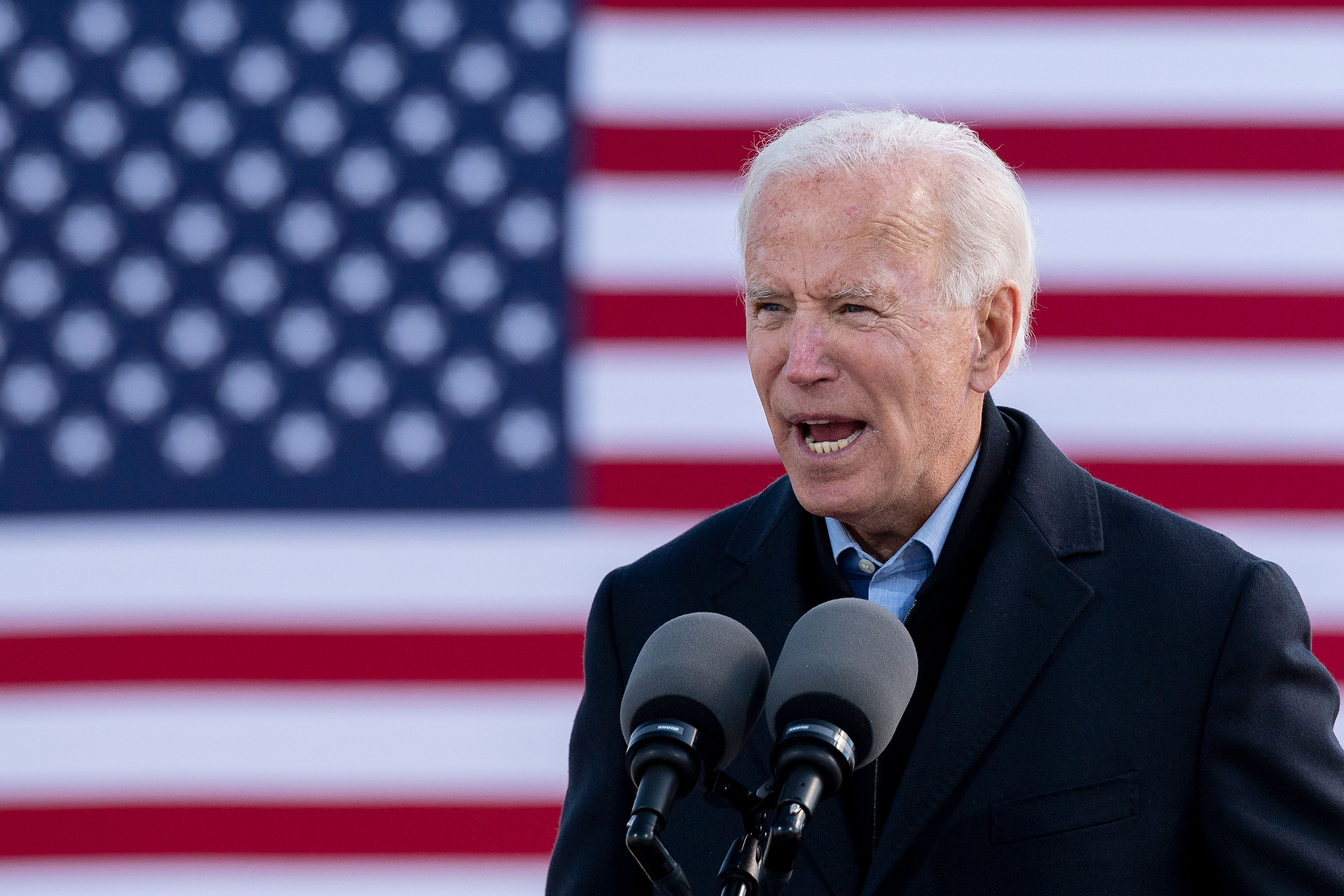 Joe Biden speaks during a drive-in campaign event at the Iowa State Fairgrounds in Des Moines, Iowa, on October 30.
