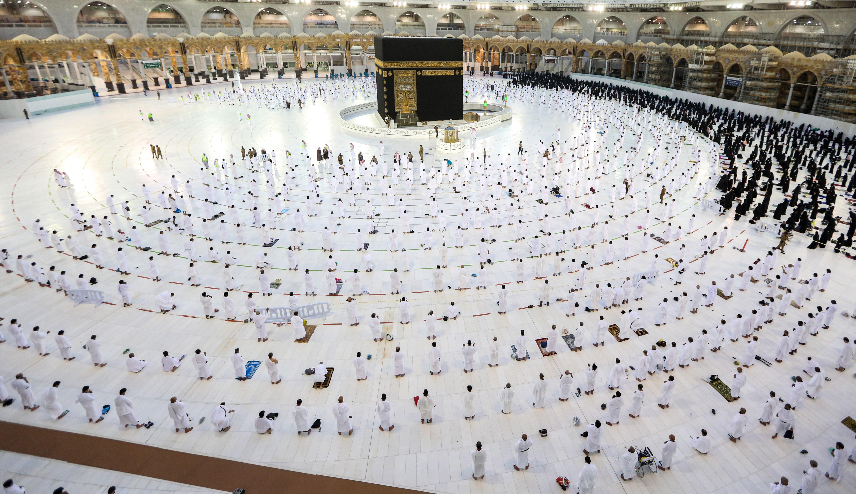 Worshippers in Mecca, Saudi Arabia, pray around the Kaaba in the Grand Mosque on November 1.