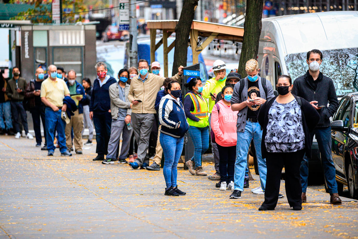 People line up outside a Covid-19 testing site in New York City, New York on November 11.