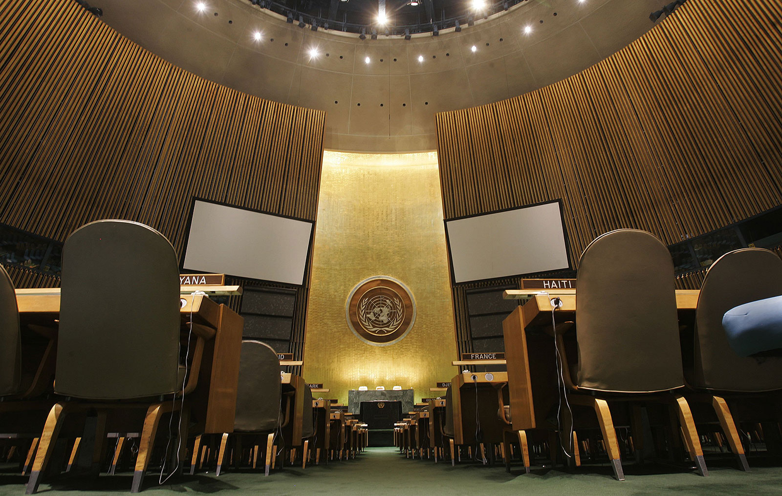 A view from inside the General Assembly Hall of the United Nations headquarters in New York