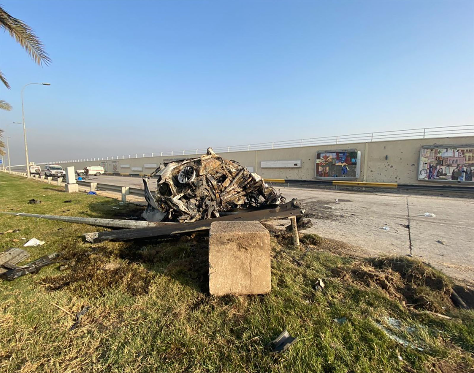 Debris from the airstrike at Baghdad airport is seen on Friday. Credit: Obtained by CNN