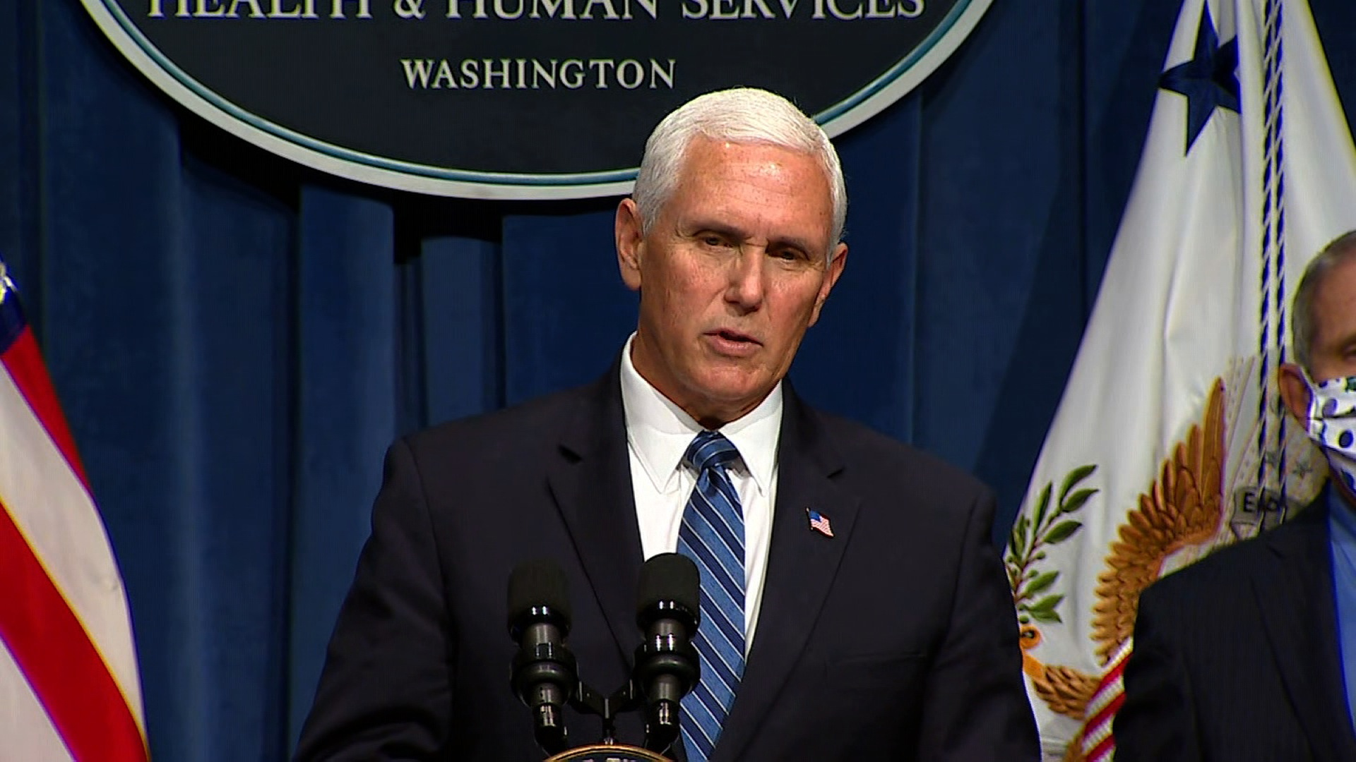 Vice President Mike Pence speaks at a coronavirus task force briefing in Washington, DC, on June 26.