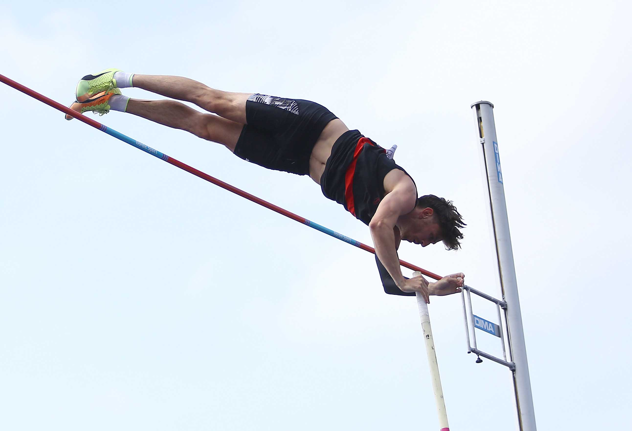 Harry Coppell competes during the Mens Pole Vault Final during the Muller British Athletics Championships in Manchester, England, on June 27.