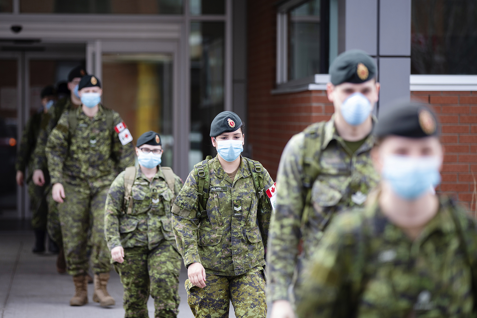 Canadian Armed Forces (CAF) medical personnel leave following their shift at the Centre Valeo St. Lambert seniors' long-term care home in St. Lambert, Quebec, Canada, on Friday, April 24.