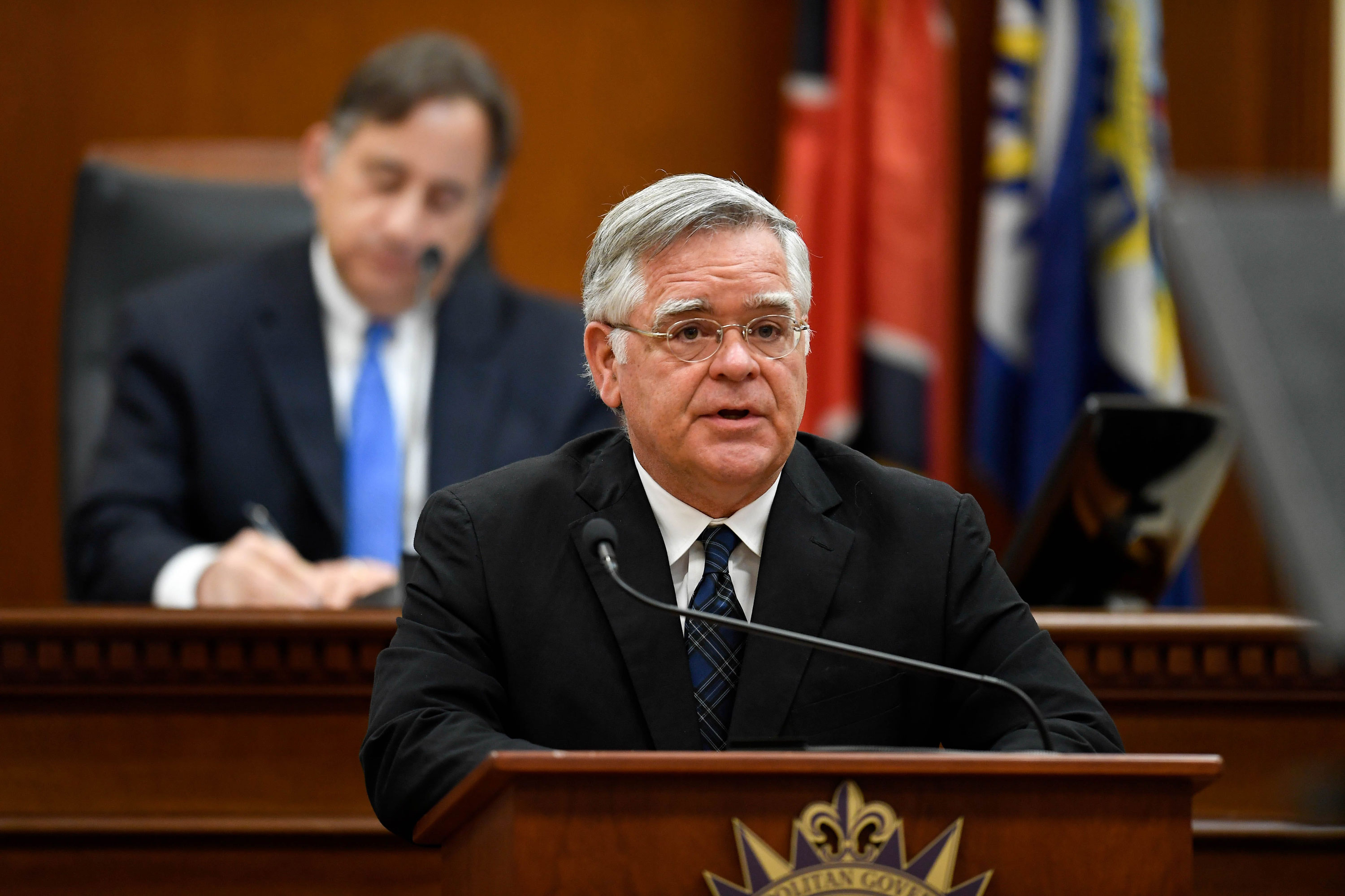 Nashville Mayor John Cooper delivers the State of Metro Address from the Council Chambers at the Metro Courthouse on March 31 in Nashville.