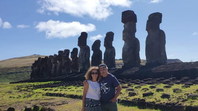 Passengers Yolanda and Carlos Payá, posing on Easter Island during an early port call.