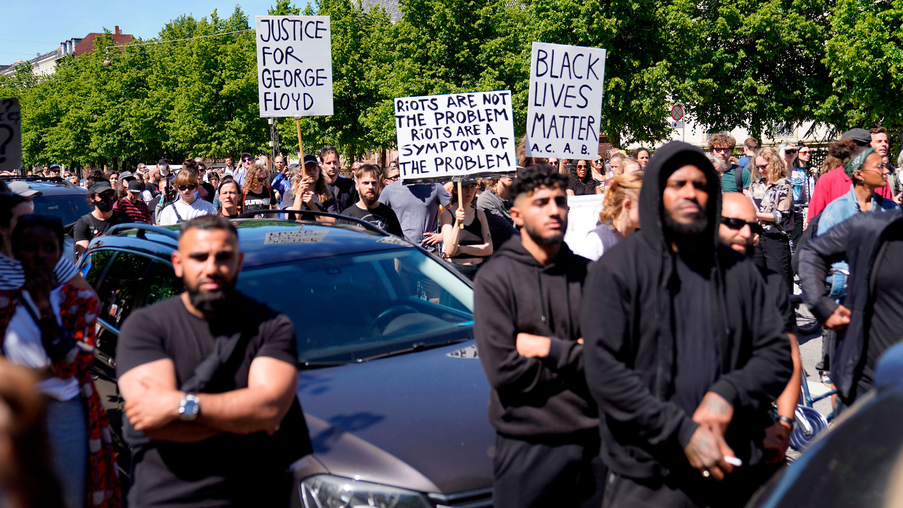People demonstrate in front of the US Embassy in Copenhagen, Denmark, on May 31.
