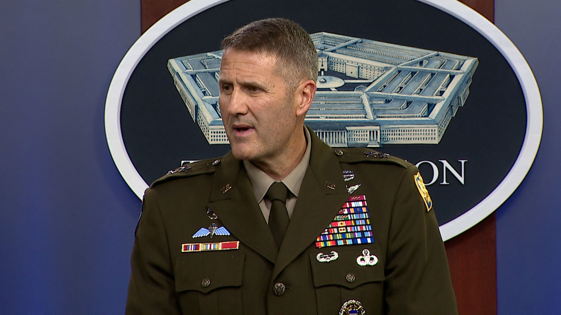 """Army Maj. Gen. William """"Hank"""" Taylor, Joint Staff deputy director for regional operations, speaks at a briefing in Washington, DC, on August 20, 2021."""