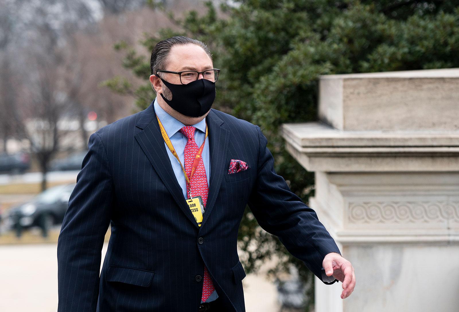 Jason Miller arrives at the Capitol on Thursday, February 11.