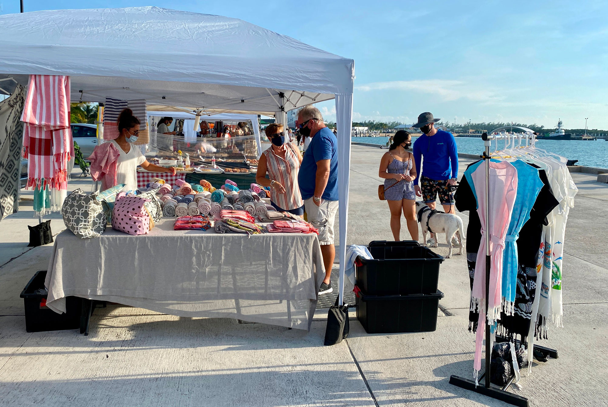 Customers wear masks at the Farmers Market in Key West, Florida on September 17.