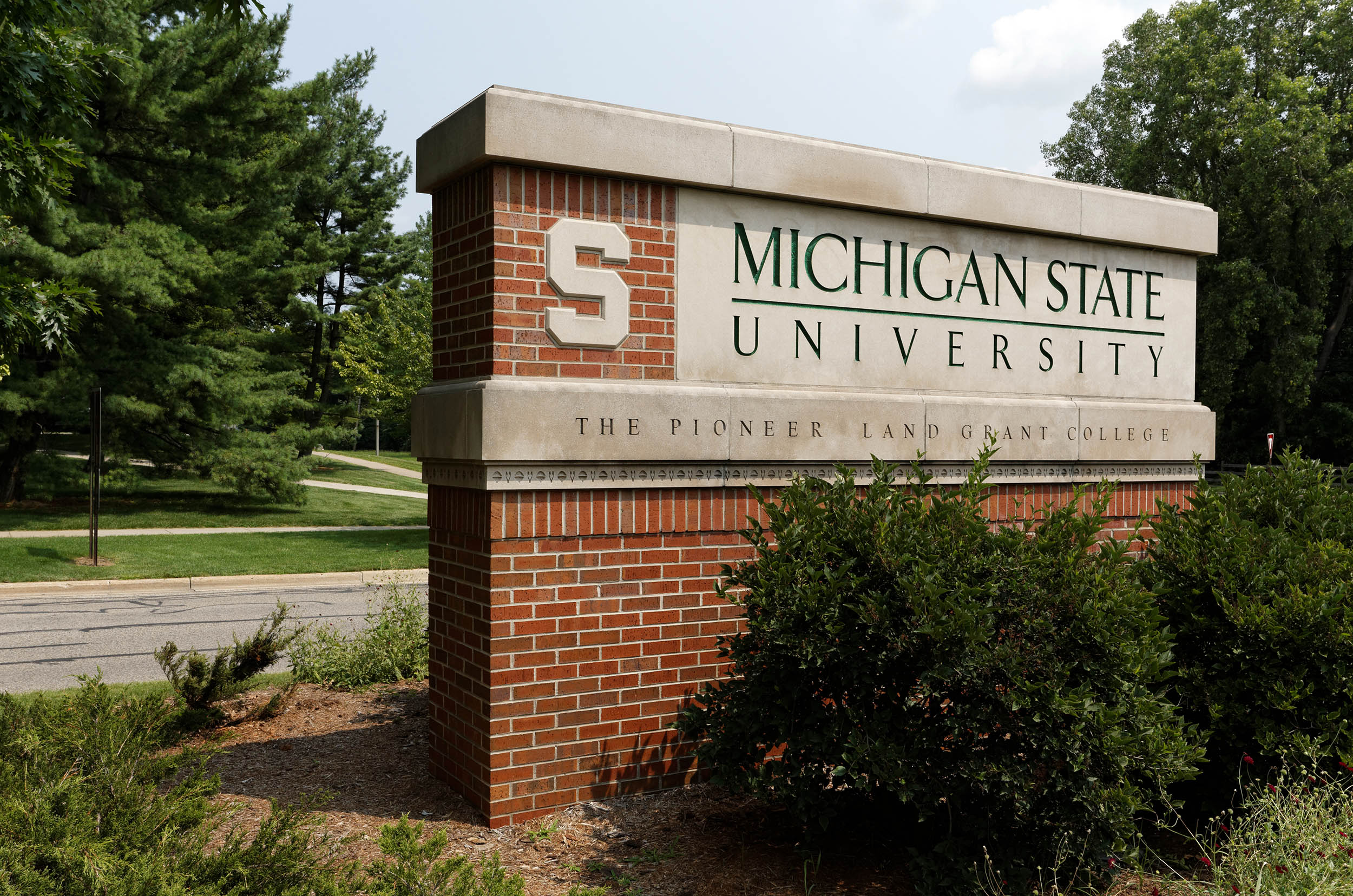 An entrance to Michigan State University located in East Lansing, Michigan on August 1, 2014. MSU is a public research university founded in 1855.