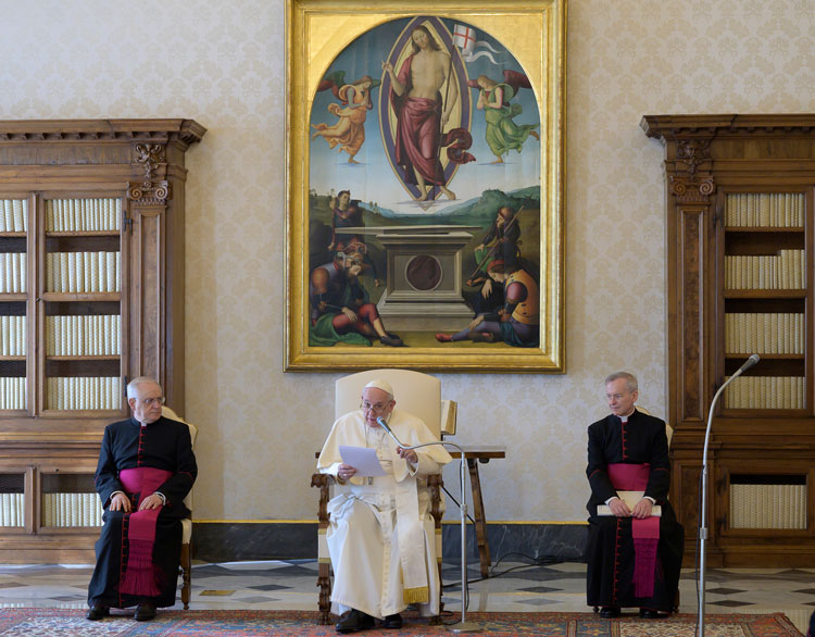 Pope Francis holds his general audience at the Vatican, on Wednesday, March 11.